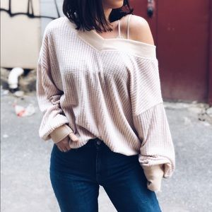 Tops - 🆕Mila Nude Waffle Knit Off the Shoulder Top